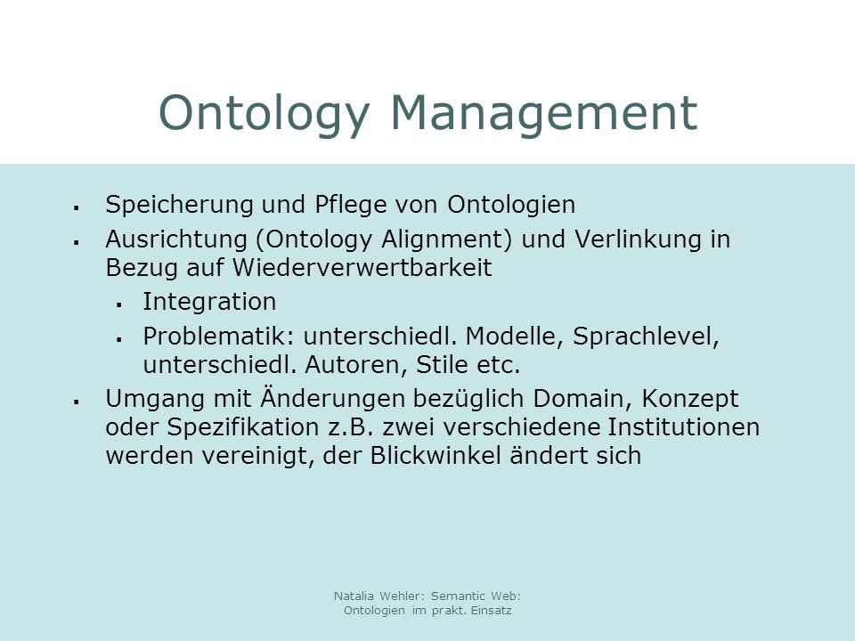 Natalia Wehler: Semantic Web: Ontologien im prakt. Einsatz Swiss Life: Beispiel Ontologie