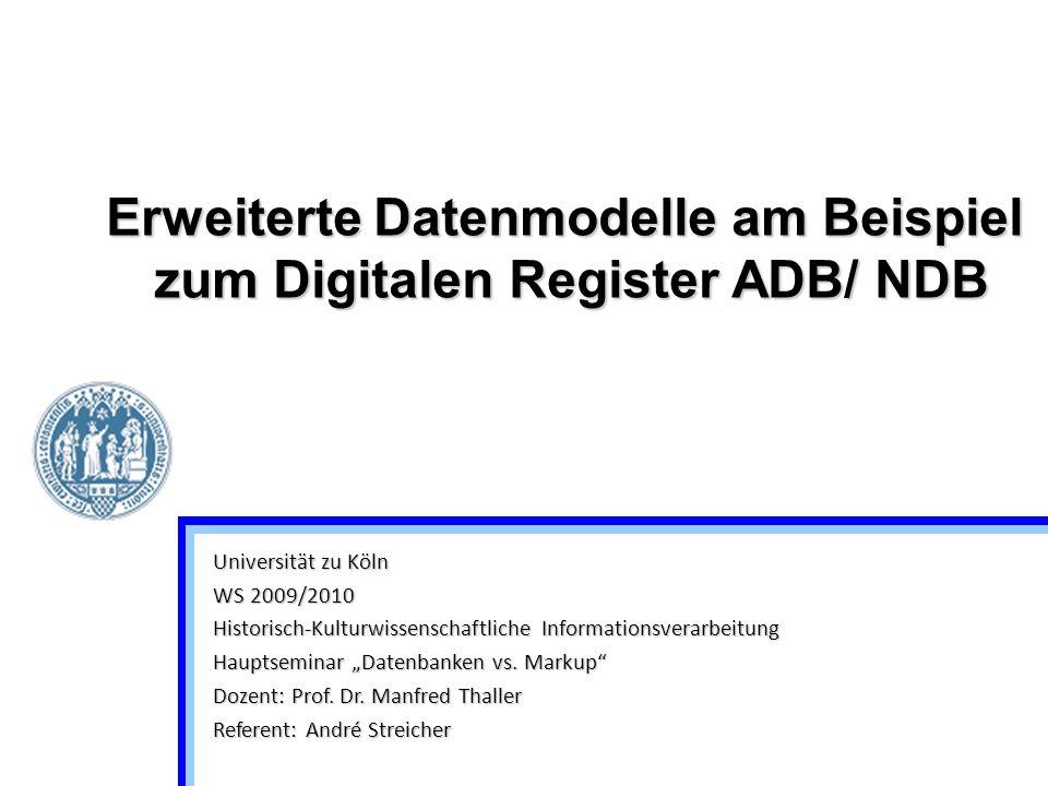 Universität zu Köln WS 2009/2010 Historisch-Kulturwissenschaftliche Informationsverarbeitung Hauptseminar Datenbanken vs.
