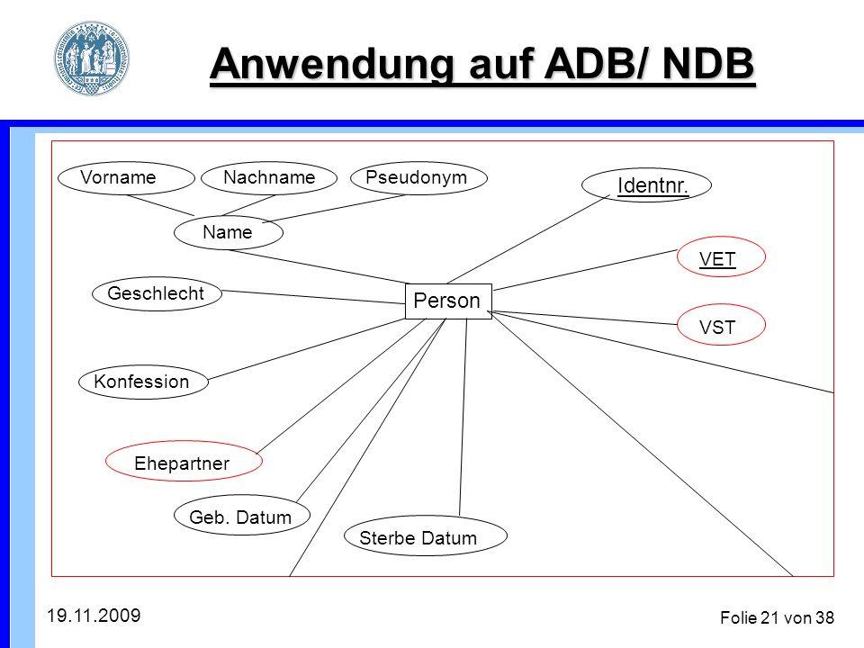 19.11.2009 Folie 21 von 38 Anwendung auf ADB/ NDB Person VST VET Identnr.