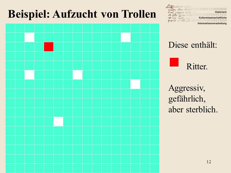 Beispiel: Aufzucht von Trollen Diese enthält: Ritter. Aggressiv, gefährlich, aber sterblich. 12