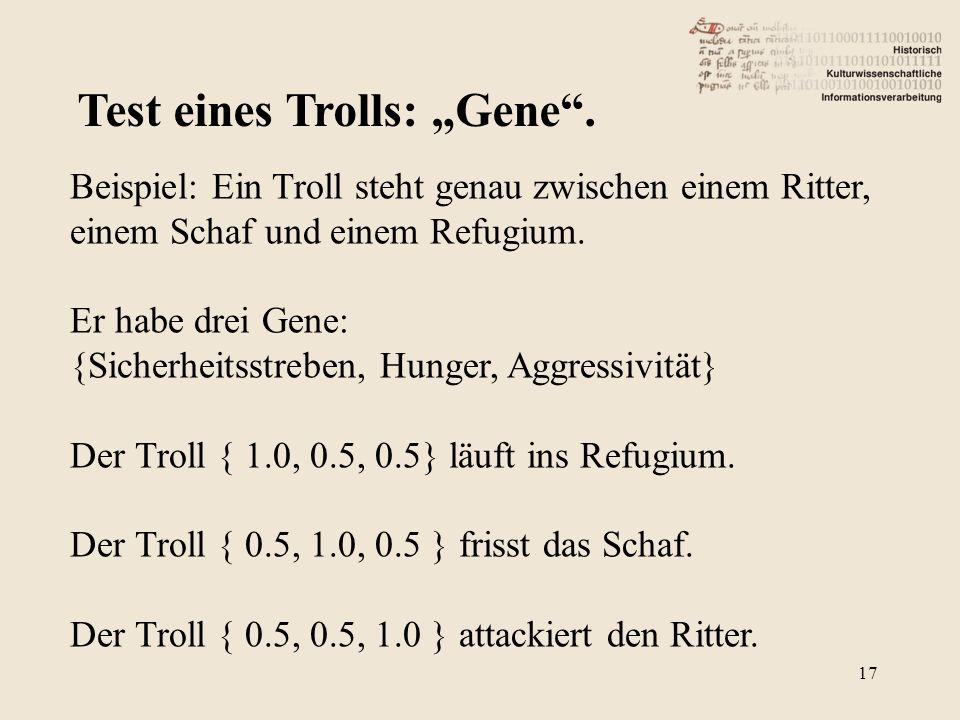 Test eines Trolls: Gene. Beispiel: Ein Troll steht genau zwischen einem Ritter, einem Schaf und einem Refugium. Er habe drei Gene: {Sicherheitsstreben