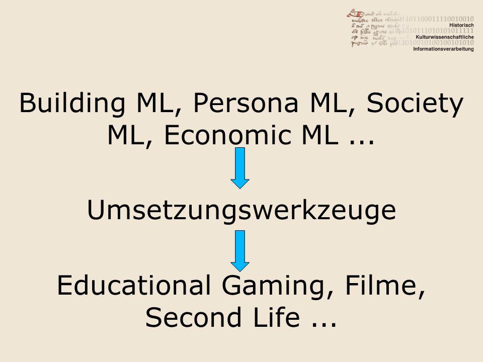 Building ML, Persona ML, Society ML, Economic ML... Umsetzungswerkzeuge Educational Gaming, Filme, Second Life...