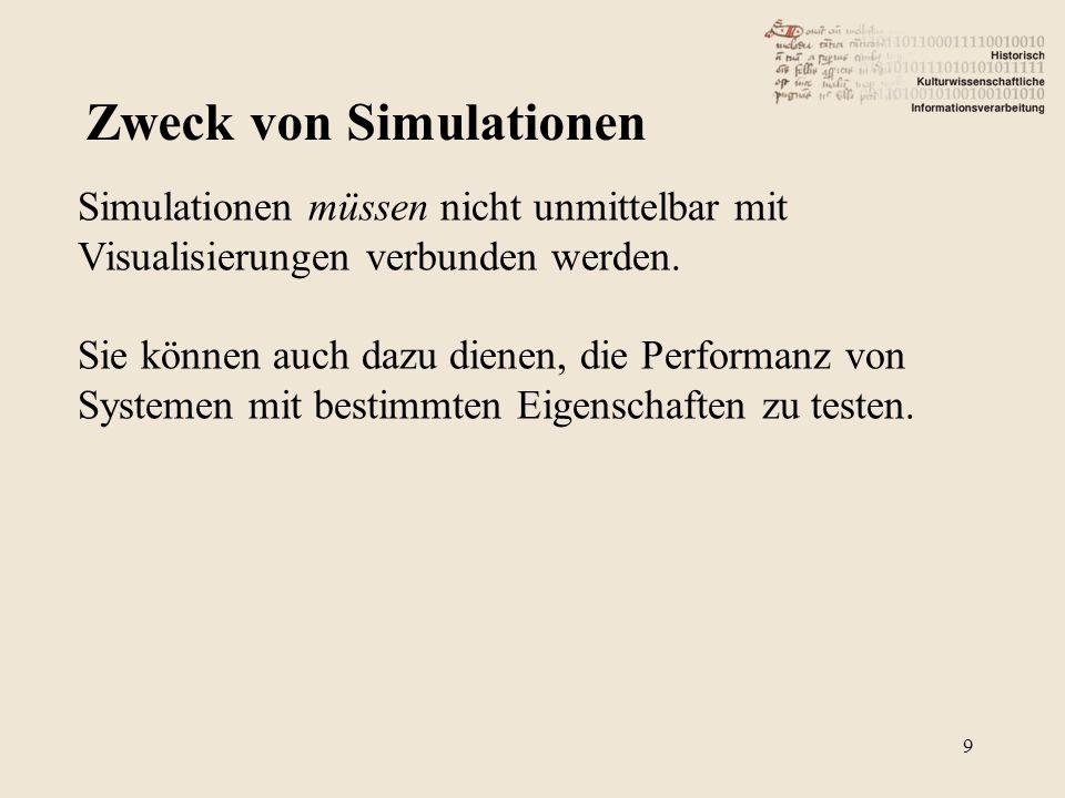 Zweck von Simulationen Simulationen müssen nicht unmittelbar mit Visualisierungen verbunden werden. Sie können auch dazu dienen, die Performanz von Sy