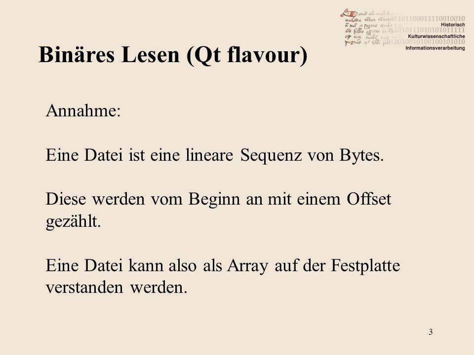 Binäres Lesen (Qt flavour) 3 Annahme: Eine Datei ist eine lineare Sequenz von Bytes. Diese werden vom Beginn an mit einem Offset gezählt. Eine Datei k