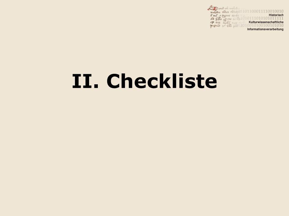 II. Checkliste