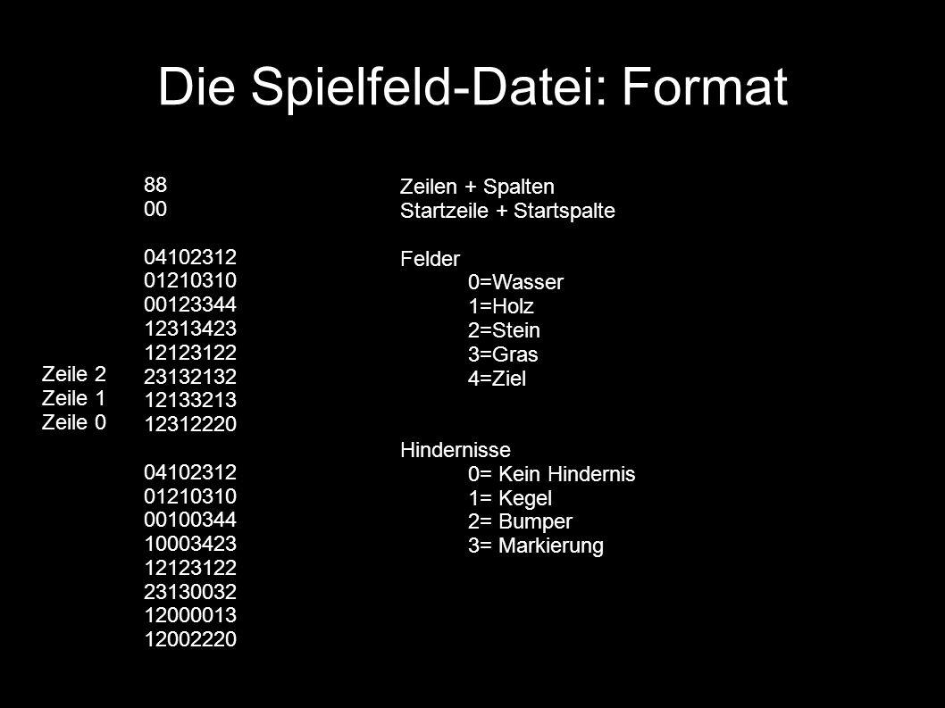 Die Spielfeld-Datei: Format 88 00 04102312 01210310 00123344 12313423 12123122 23132132 12133213 12312220 04102312 01210310 00100344 10003423 12123122 23130032 12000013 12002220 Zeilen + Spalten Startzeile + Startspalte Felder 0=Wasser 1=Holz 2=Stein 3=Gras 4=Ziel Hindernisse 0= Kein Hindernis 1= Kegel 2= Bumper 3= Markierung Zeile 2 Zeile 1 Zeile 0