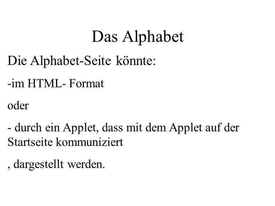 Das Alphabet Die Alphabet-Seite könnte: -im HTML- Format oder - durch ein Applet, dass mit dem Applet auf der Startseite kommuniziert, dargestellt werden.