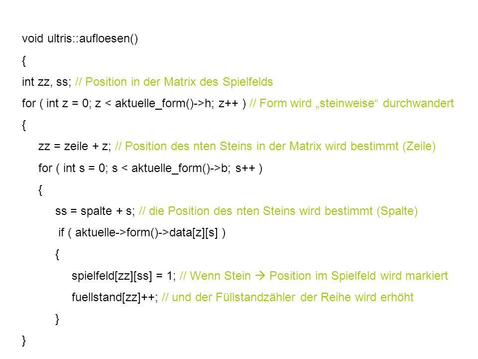 void ultris::aufloesen() { int zz, ss; // Position in der Matrix des Spielfelds for ( int z = 0; z h; z++ ) // Form wird steinweise durchwandert { zz = zeile + z; // Position des nten Steins in der Matrix wird bestimmt (Zeile) for ( int s = 0; s b; s++ ) { ss = spalte + s; // die Position des nten Steins wird bestimmt (Spalte) if ( aktuelle->form()->data[z][s] ) { spielfeld[zz][ss] = 1; // Wenn Stein Position im Spielfeld wird markiert fuellstand[zz]++; // und der Füllstandzähler der Reihe wird erhöht }