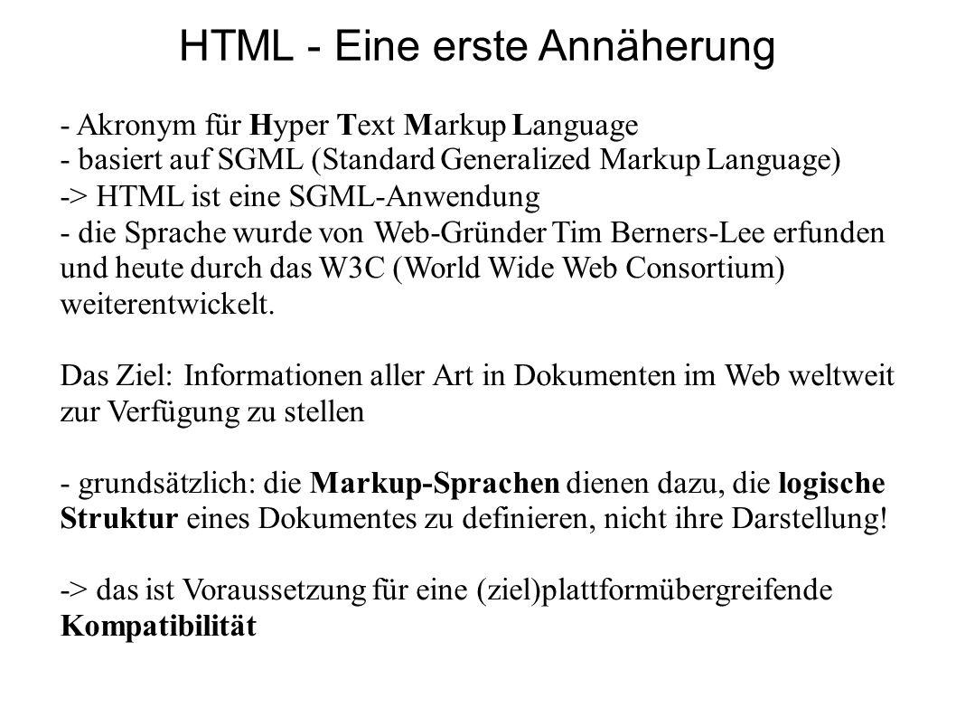 HTML - Eine erste Annäherung - Akronym für Hyper Text Markup Language - basiert auf SGML (Standard Generalized Markup Language) -> HTML ist eine SGML-