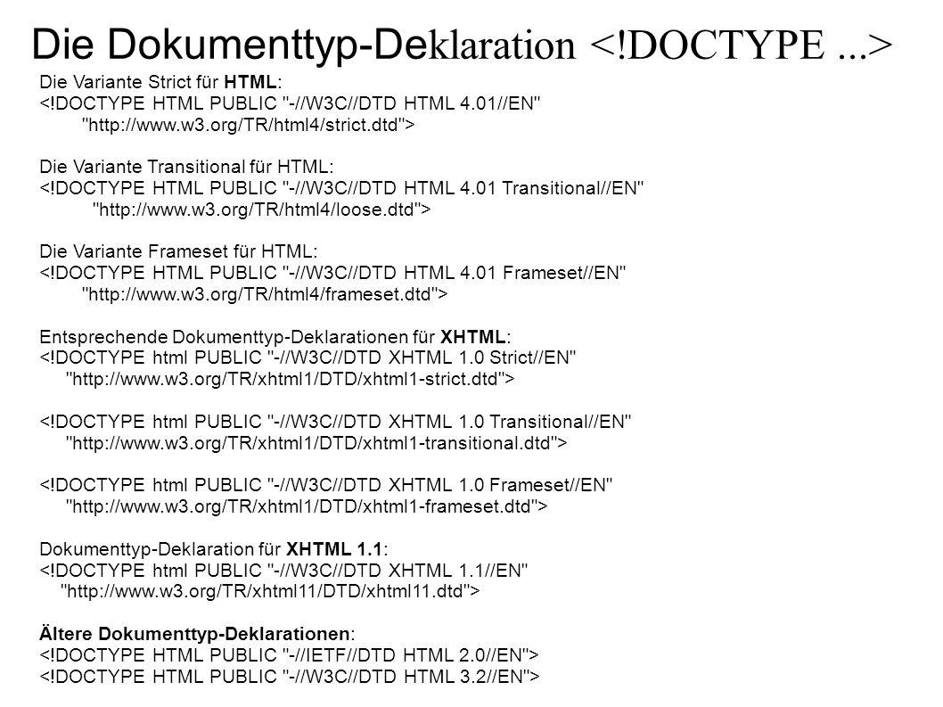 Die Dokumenttyp-De klaration Die Variante Strict für HTML: <!DOCTYPE HTML PUBLIC