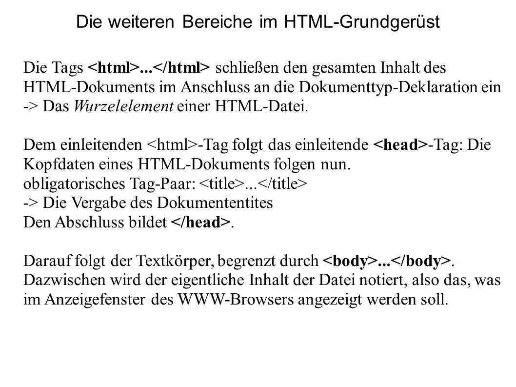 Die weiteren Bereiche im HTML-Grundgerüst Die Tags... schließen den gesamten Inhalt des HTML-Dokuments im Anschluss an die Dokumenttyp-Deklaration ein