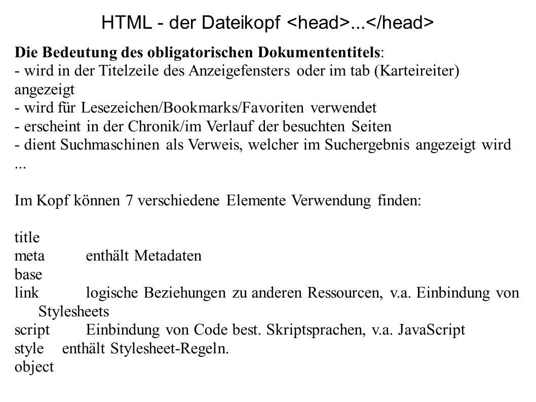 HTML - der Dateikopf... Die Bedeutung des obligatorischen Dokumententitels: - wird in der Titelzeile des Anzeigefensters oder im tab (Karteireiter) an