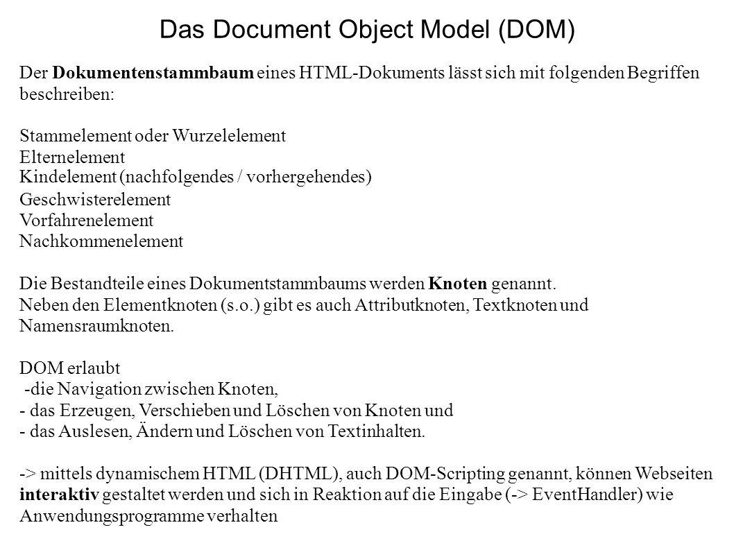 Das Document Object Model (DOM) Der Dokumentenstammbaum eines HTML-Dokuments lässt sich mit folgenden Begriffen beschreiben: Stammelement oder Wurzele