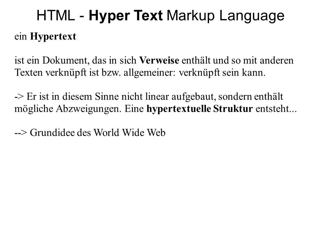 HTML - der HTML-Körper Wdh.: Der Inhalt von HTML-Dateien steht wie gesehen in HTML- Elementen, mittels Tags markiert.