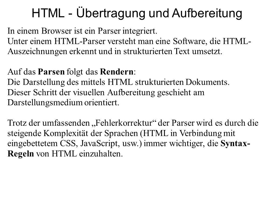 HTML - Übertragung und Aufbereitung In einem Browser ist ein Parser integriert. Unter einem HTML-Parser versteht man eine Software, die HTML- Auszeich
