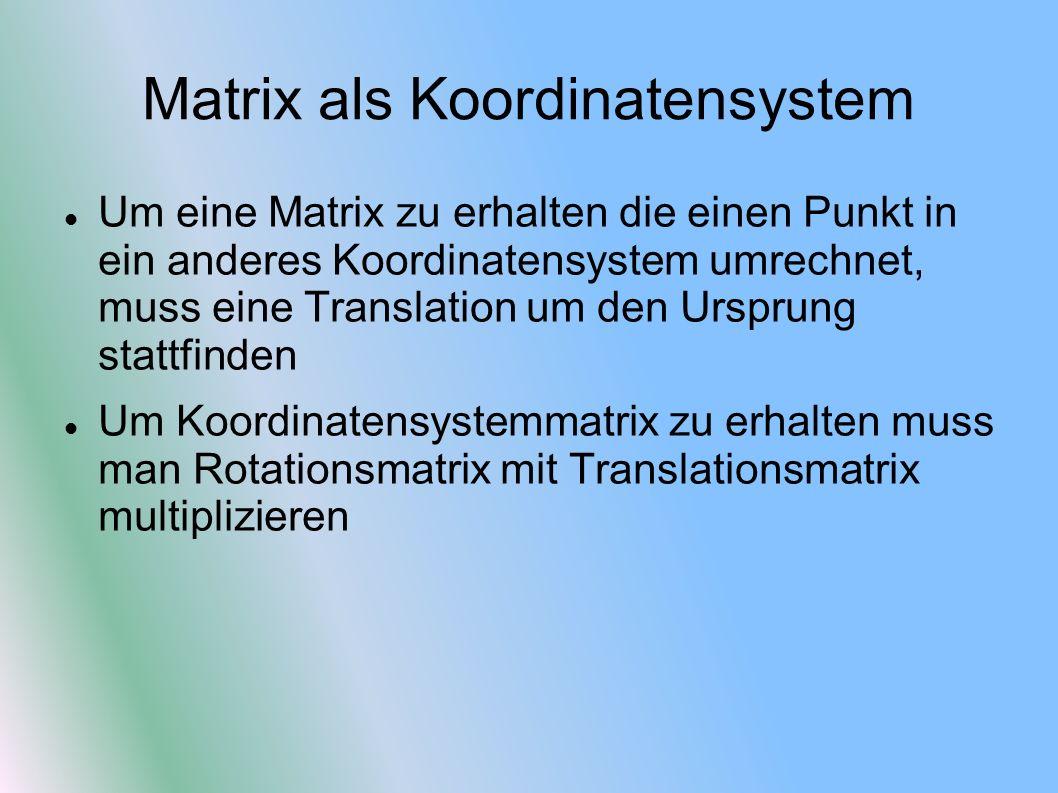 Matrix als Koordinatensystem Um eine Matrix zu erhalten die einen Punkt in ein anderes Koordinatensystem umrechnet, muss eine Translation um den Urspr