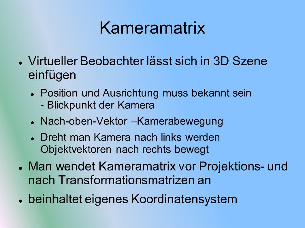 Kameramatrix Virtueller Beobachter lässt sich in 3D Szene einfügen Position und Ausrichtung muss bekannt sein - Blickpunkt der Kamera Nach-oben-Vektor