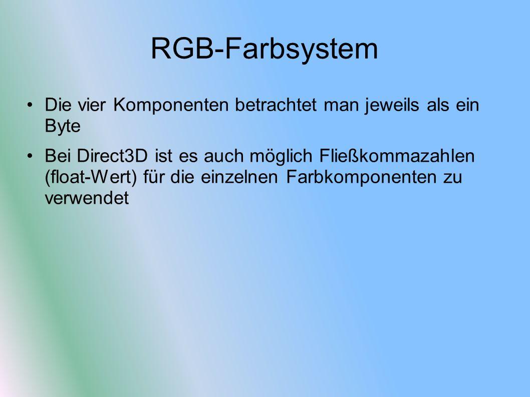 RGB-Farbsystem Die vier Komponenten betrachtet man jeweils als ein Byte Bei Direct3D ist es auch möglich Fließkommazahlen (float-Wert) für die einzeln
