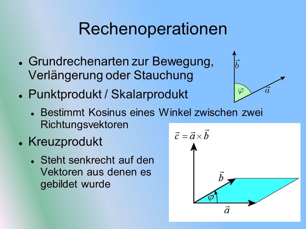 Transformationen Translationsmatrix Verschiebt einen Vektor Simple Vektoraddition X p = x m *C 11 + y m *C 21 + z m *C 31 + C 41 Matrixelement C 41 fließt nur durch Addition ein Bei Y p C 42 und bei Zp C 43 Füllt man diese Elemente (innerhalb einer Identitätsmatrix) aus, wird eine Translation durchgeführt