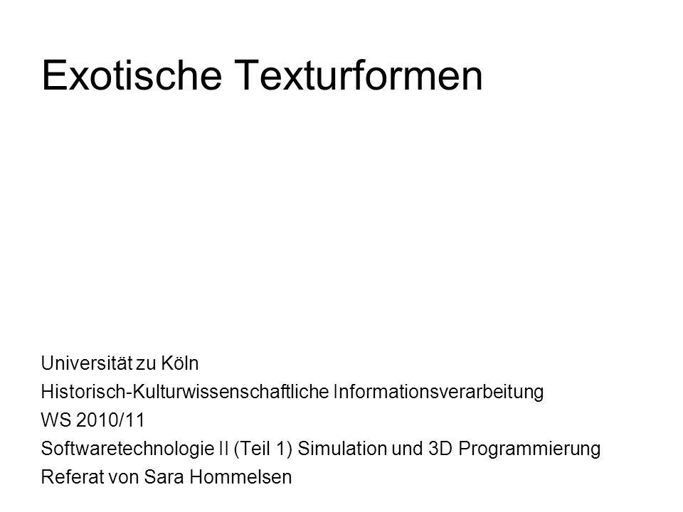 Texturkoordianten - 2 generieren: DirectXTextureTool 1.neue Textur erstellen 2.cubeMapTexture wählen 3.um zwischen Würfelflächen hin und her zu schalten: view -> CubeMapView => Bilddateien auf entsprechende Flächen der Würfeltextur laden (s.