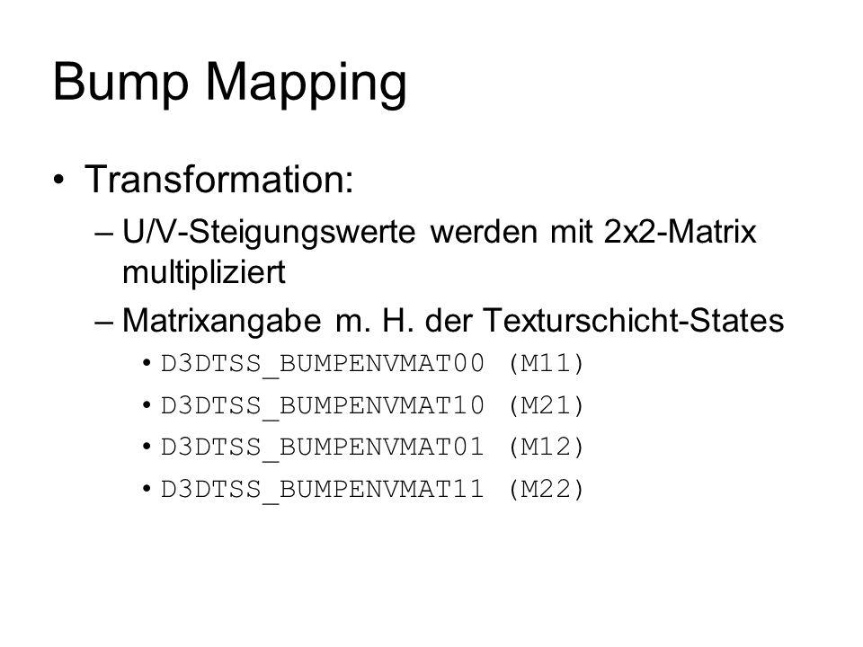 Bump Mapping Transformation: –U/V-Steigungswerte werden mit 2x2-Matrix multipliziert –Matrixangabe m. H. der Texturschicht-States D3DTSS_BUMPENVMAT00