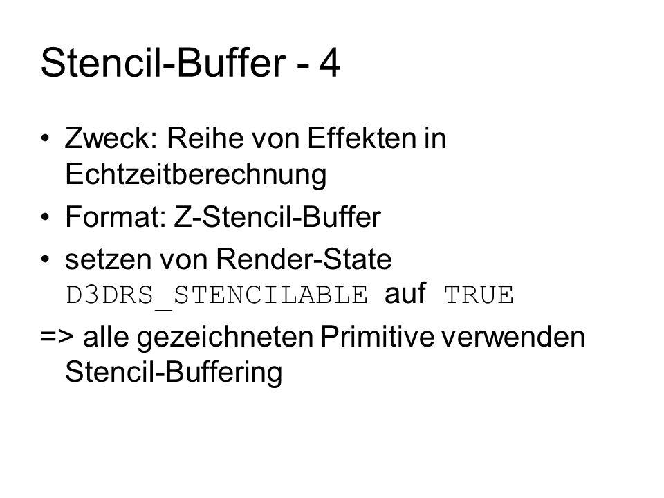 Stencil-Buffer - 4 Zweck: Reihe von Effekten in Echtzeitberechnung Format: Z-Stencil-Buffer setzen von Render-State D3DRS_STENCILABLE auf TRUE => alle