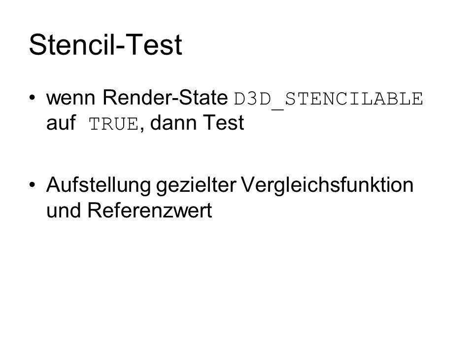 Stencil-Test wenn Render-State D3D_STENCILABLE auf TRUE, dann Test Aufstellung gezielter Vergleichsfunktion und Referenzwert