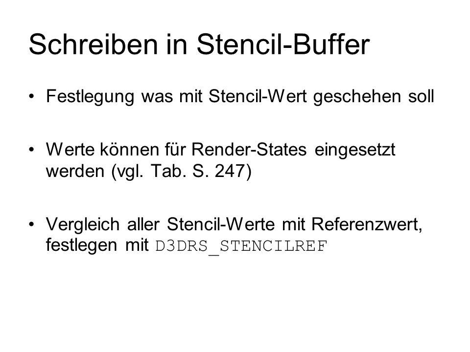 Schreiben in Stencil-Buffer Festlegung was mit Stencil-Wert geschehen soll Werte können für Render-States eingesetzt werden (vgl. Tab. S. 247) Verglei