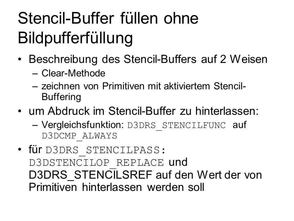 Stencil-Buffer füllen ohne Bildpufferfüllung Beschreibung des Stencil-Buffers auf 2 Weisen –Clear-Methode –zeichnen von Primitiven mit aktiviertem Ste