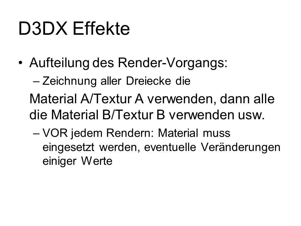 D3DX Effekte Aufteilung des Render-Vorgangs: –Zeichnung aller Dreiecke die Material A/Textur A verwenden, dann alle die Material B/Textur B verwenden
