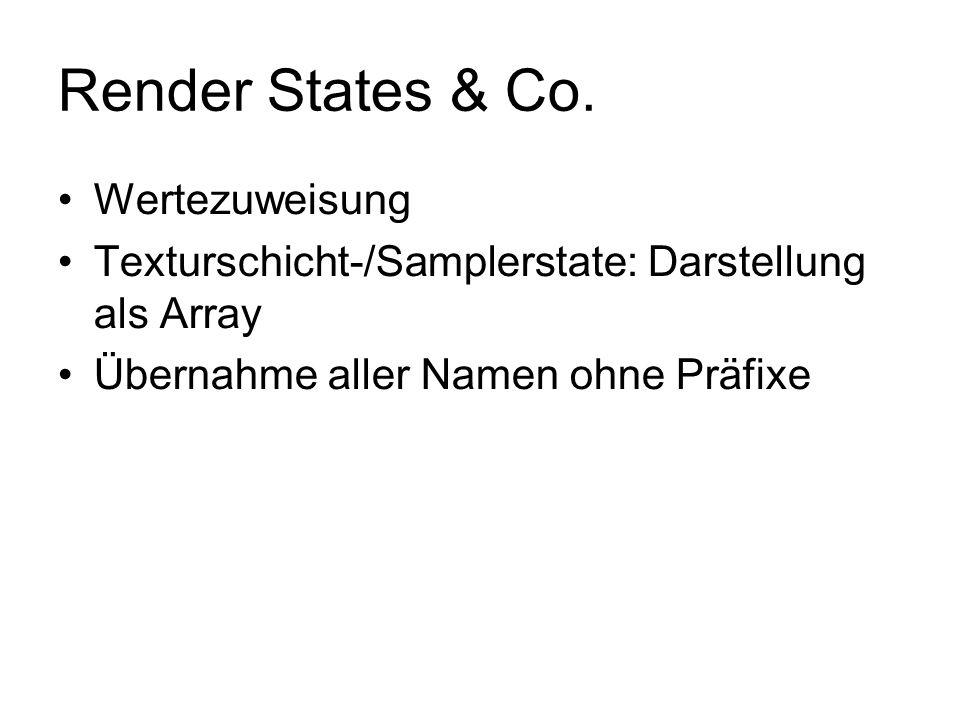 Render States & Co. Wertezuweisung Texturschicht-/Samplerstate: Darstellung als Array Übernahme aller Namen ohne Präfixe