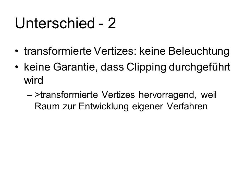 Unterschied - 2 transformierte Vertizes: keine Beleuchtung keine Garantie, dass Clipping durchgeführt wird –>transformierte Vertizes hervorragend, wei