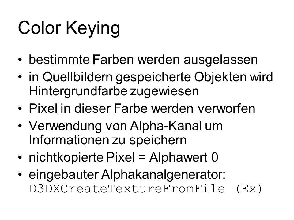 Color Keying bestimmte Farben werden ausgelassen in Quellbildern gespeicherte Objekten wird Hintergrundfarbe zugewiesen Pixel in dieser Farbe werden v