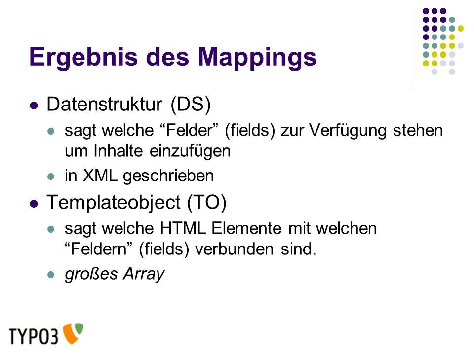 Ergebnis des Mappings Datenstruktur (DS) sagt welche Felder (fields) zur Verfügung stehen um Inhalte einzufügen in XML geschrieben Templateobject (TO) sagt welche HTML Elemente mit welchen Feldern (fields) verbunden sind.