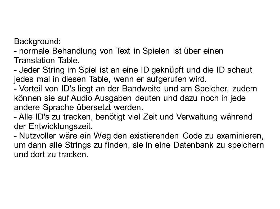 Background: - normale Behandlung von Text in Spielen ist über einen Translation Table.
