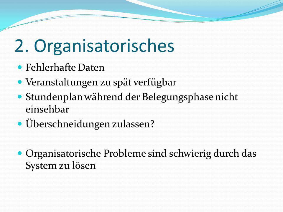 2. Organisatorisches Fehlerhafte Daten Veranstaltungen zu spät verfügbar Stundenplan während der Belegungsphase nicht einsehbar Überschneidungen zulas