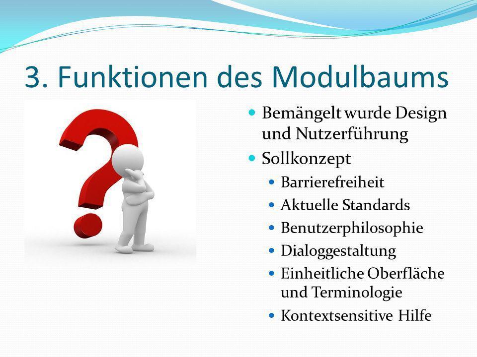 3. Funktionen des Modulbaums Bemängelt wurde Design und Nutzerführung Sollkonzept Barrierefreiheit Aktuelle Standards Benutzerphilosophie Dialoggestal