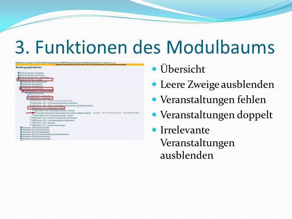 3. Funktionen des Modulbaums Übersicht Leere Zweige ausblenden Veranstaltungen fehlen Veranstaltungen doppelt Irrelevante Veranstaltungen ausblenden
