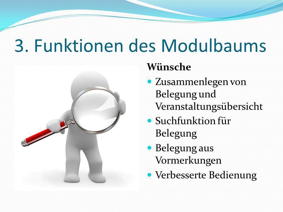 3. Funktionen des Modulbaums Wünsche Zusammenlegen von Belegung und Veranstaltungsübersicht Suchfunktion für Belegung Belegung aus Vormerkungen Verbes