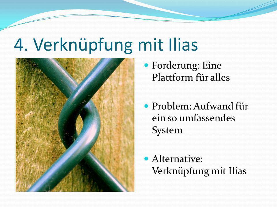 4. Verknüpfung mit Ilias Forderung: Eine Plattform für alles Problem: Aufwand für ein so umfassendes System Alternative: Verknüpfung mit Ilias