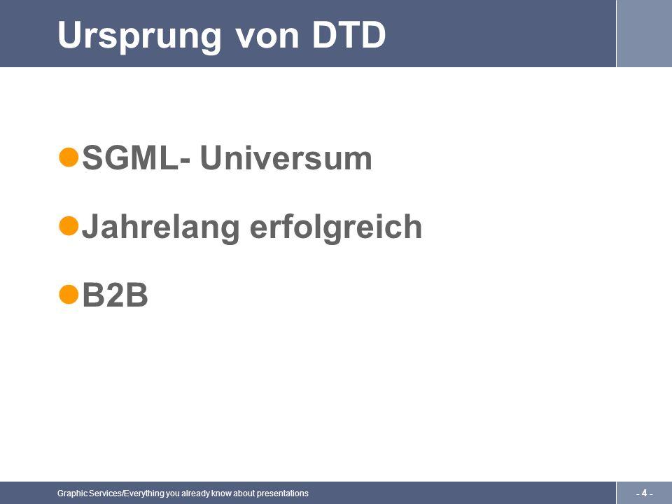 Graphic Services/Everything you already know about presentations - 4 - Ursprung von DTD SGML- Universum Jahrelang erfolgreich B2B