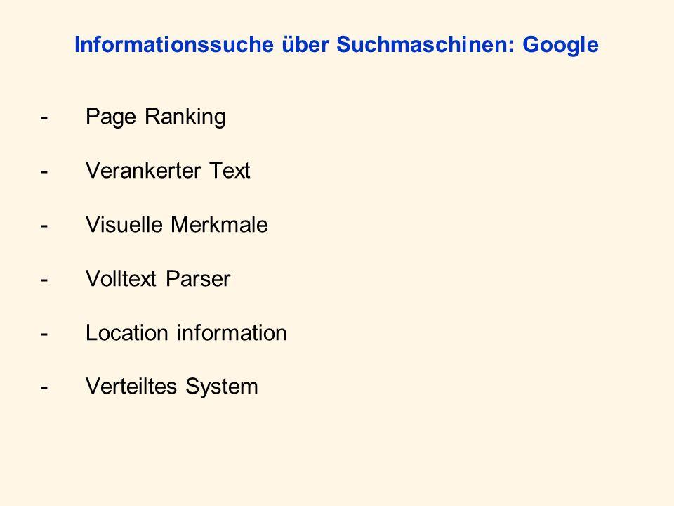 Informationssuche über Suchmaschinen: Google -Page Ranking -Verankerter Text -Visuelle Merkmale -Volltext Parser -Location information -Verteiltes Sys