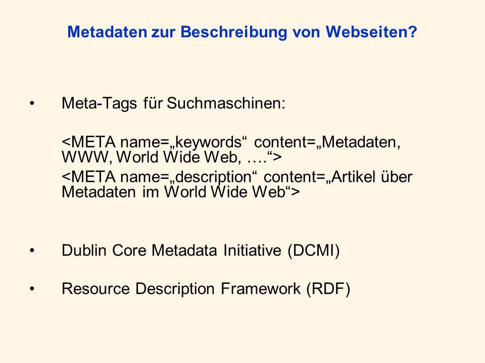 Metadaten zur Beschreibung von Webseiten? Meta-Tags für Suchmaschinen: Dublin Core Metadata Initiative (DCMI) Resource Description Framework (RDF)