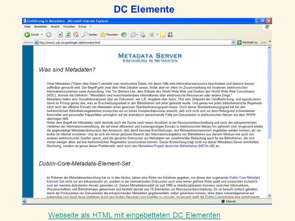 DC Elemente Webseite als HTML mit eingebetteten DC Elementen