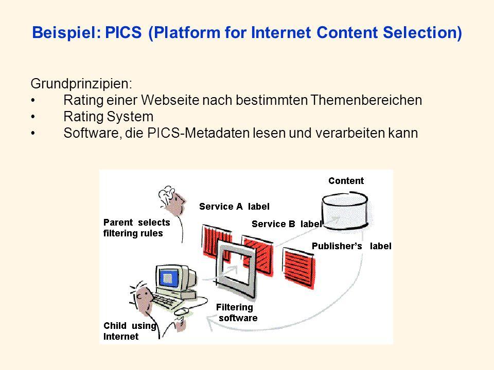 Beispiel: PICS (Platform for Internet Content Selection) Grundprinzipien: Rating einer Webseite nach bestimmten Themenbereichen Rating System Software, die PICS-Metadaten lesen und verarbeiten kann