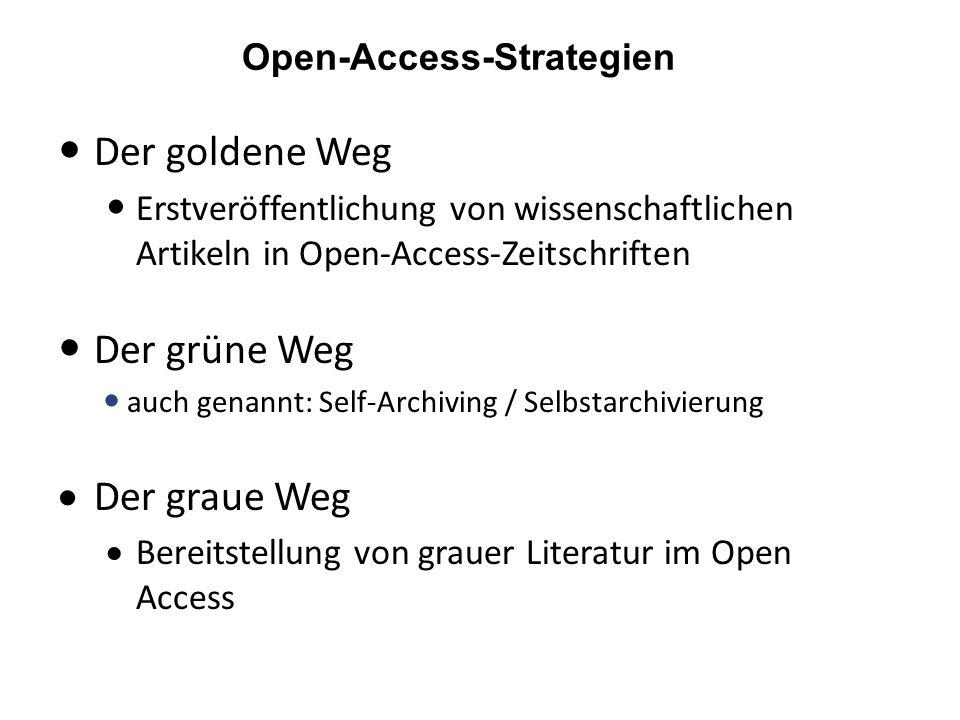 Der goldene Weg Erstveröffentlichung von wissenschaftlichen Artikeln in Open-Access-Zeitschriften Der grüne Weg auch genannt: Self-Archiving / Selbstarchivierung Der graue Weg Bereitstellung von grauer Literatur im Open Access Open-Access-Strategien