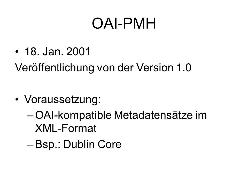 OAI-PMH 18. Jan.