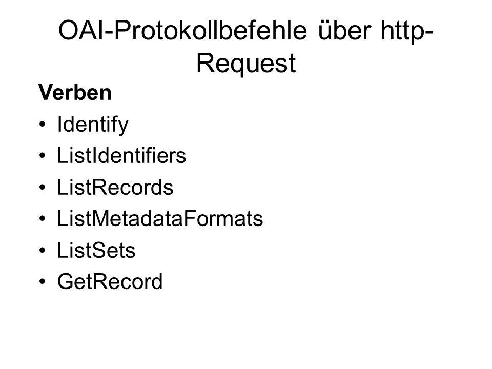 OAI-Protokollbefehle über http- Request Verben Identify ListIdentifiers ListRecords ListMetadataFormats ListSets GetRecord