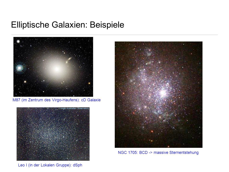 Elliptische Galaxien: Beispiele NGC 1705: BCD -> massive Sternentstehung M87 (im Zentrum des Virgo-Haufens): cD Galaxie Leo I (in der Lokalen Gruppe):
