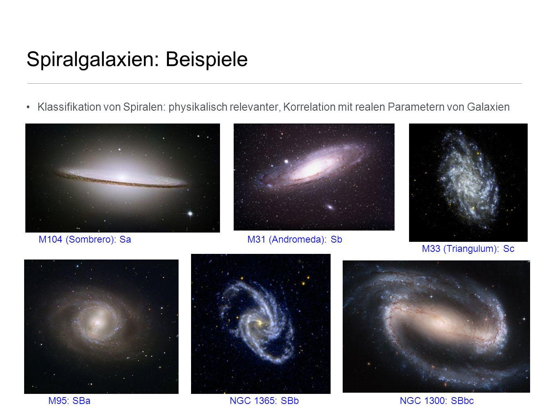 Spiralgalaxien: Beispiele Klassifikation von Spiralen: physikalisch relevanter, Korrelation mit realen Parametern von Galaxien M104 (Sombrero): SaM31
